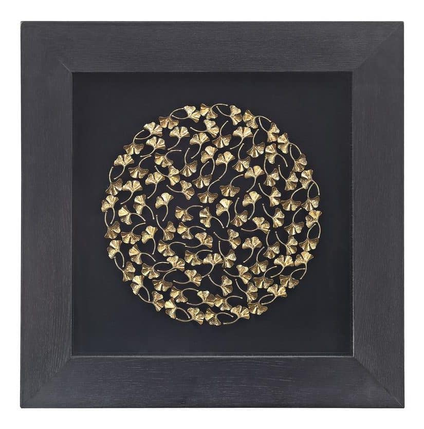 Gold artwork displayed in a matte black, shadow box frame.