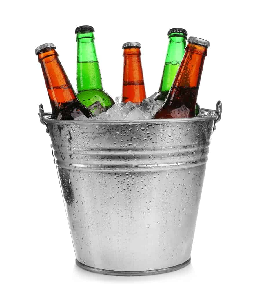 Medium-sized metal buckets containing drinks and ice.