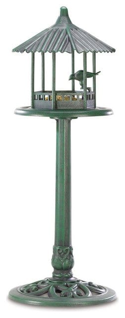 A freestanding Gazebo bird feeder with a classic finish.