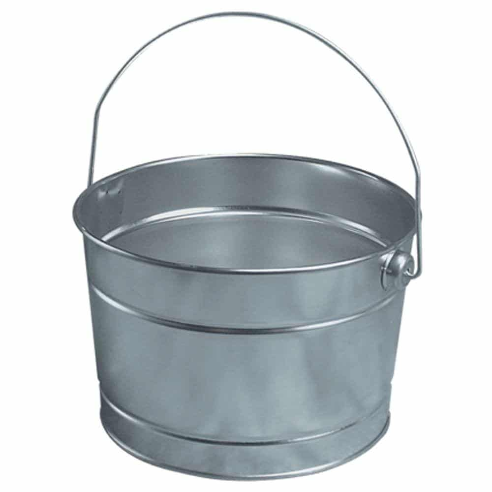 A medium-sized stout bucket made of stainless steel.
