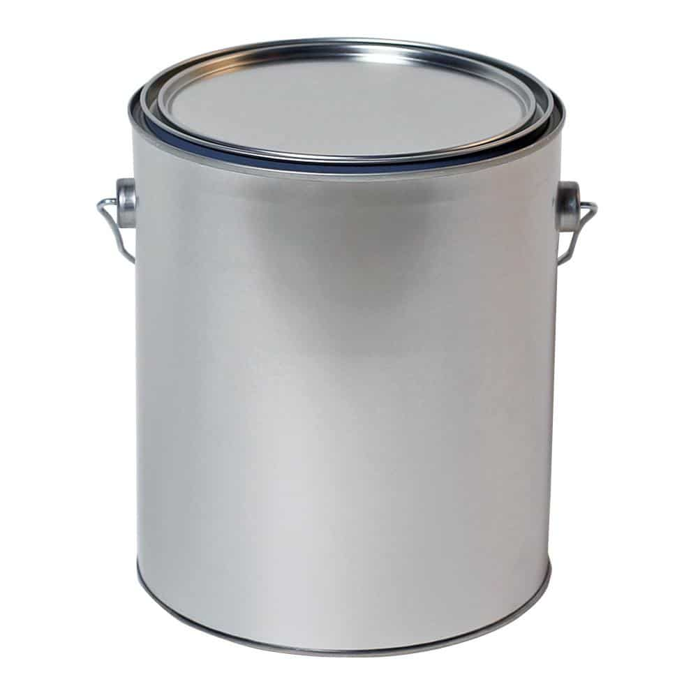 Metal paint bucket with lid.