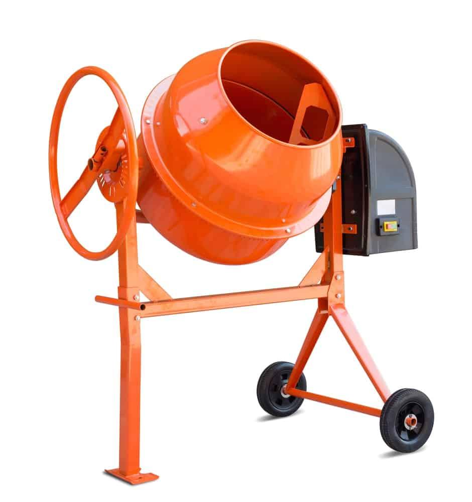 An orange cement mixer
