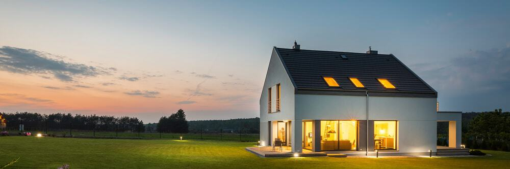 Countryside modern house with outdoor and indoor lighting