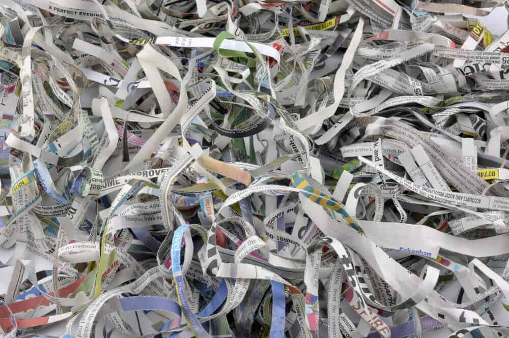 Old newspapers shredded for other purposes.