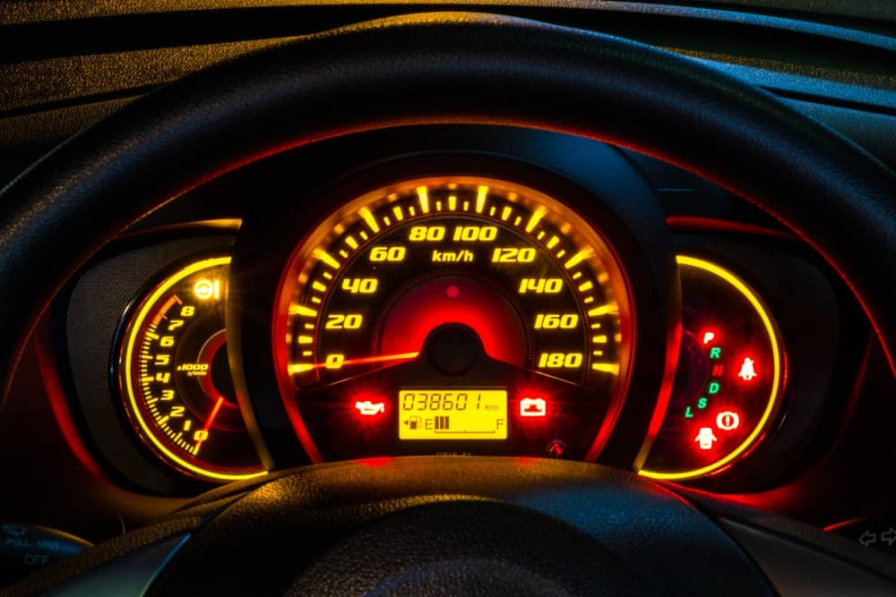 Glowing car odometer