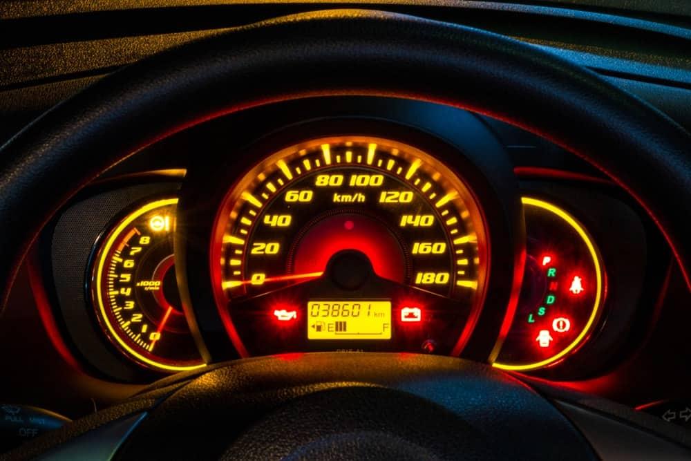 Glowing car odometer