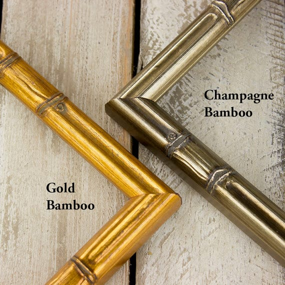 Bamboo frames painted with gold and champagne shades.