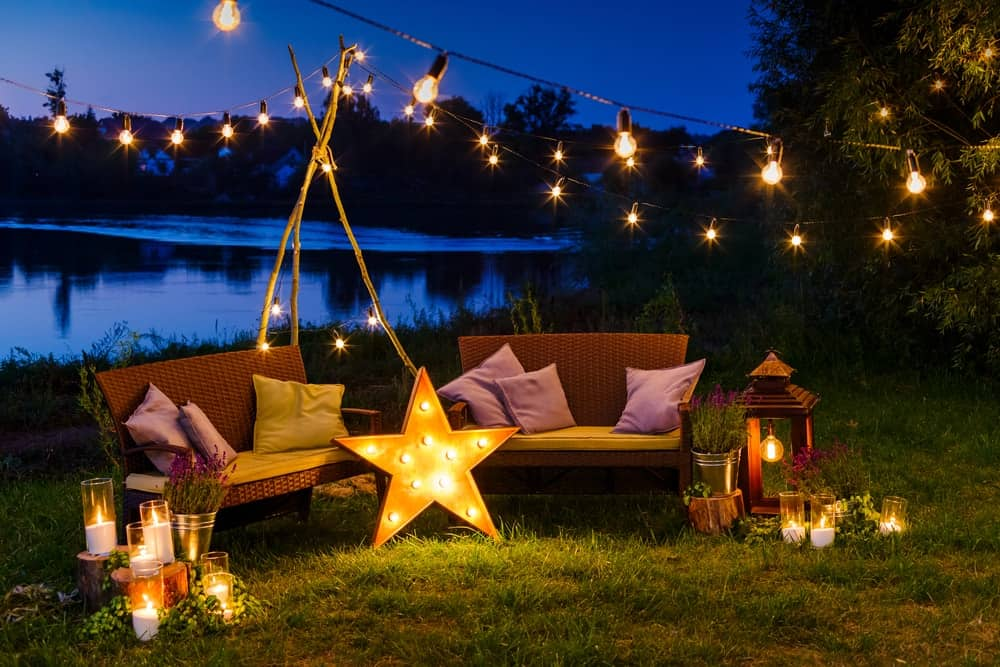 10 different types of patio and deck lighting ideas string lights and floor lamps illuminate the outdoor furniture aloadofball Choice Image
