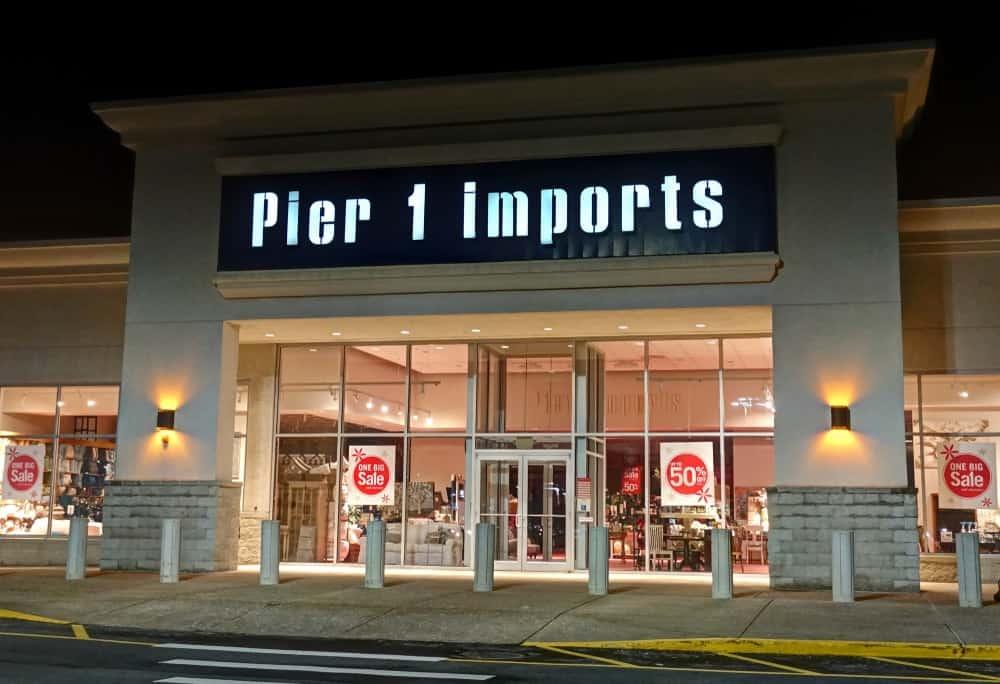 Pier 1 Imports retailer storefront, shopping center in Danvers, Massachusetts.