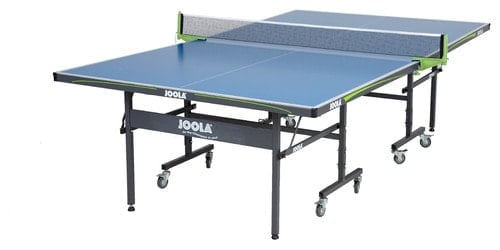 Ping-pong table with blue tabletop made of plastic/acrylic.