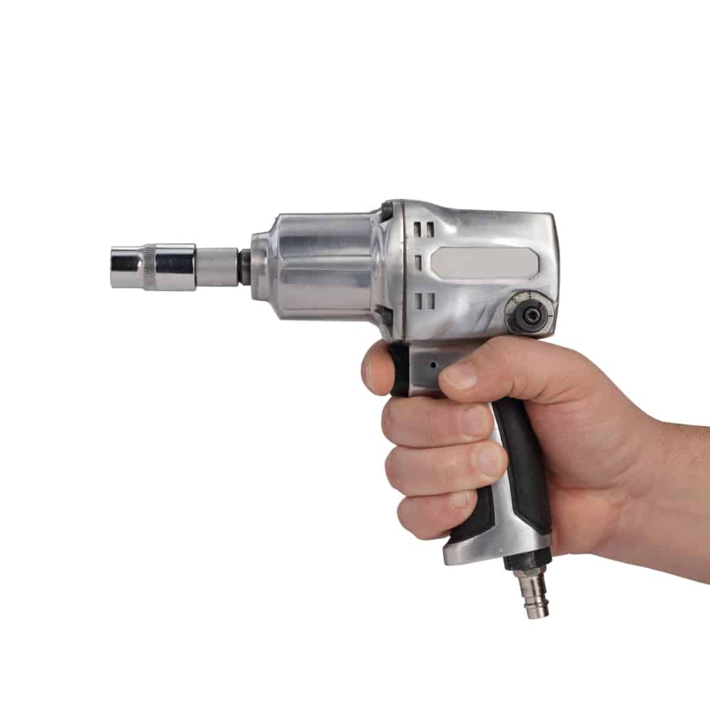 A silver pneumatic socket wrench.