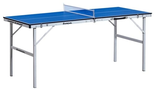 Blue portable ping-pong table isolated on white background.