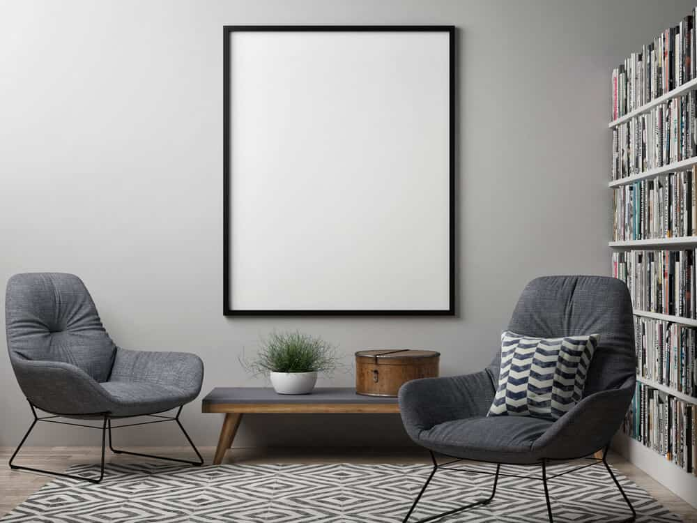 A Poster-size picture frame with a thin, black frame.