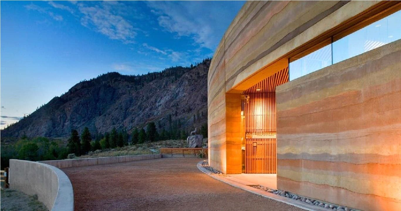 Rammed earth style homes are not only eco-friendly, but can withstand the brutality of nature as well.