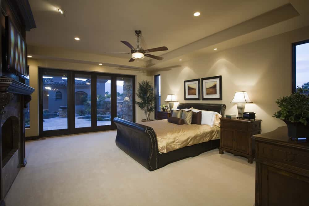 Bedroom with recessed lightings.