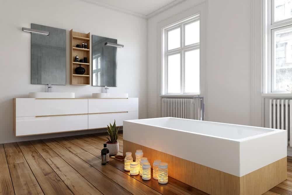 A white, rectangular bathroom vanity.