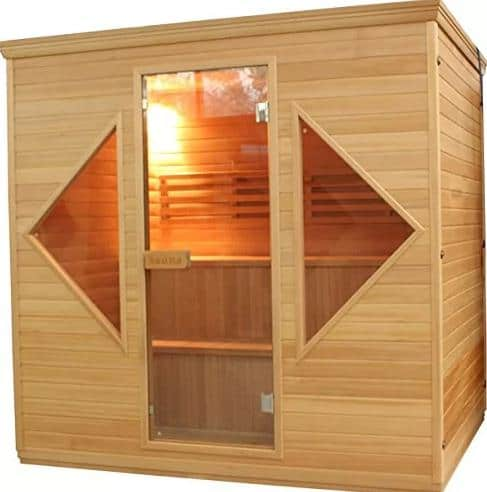 Rectangular, light wood sauna powered by electricity.