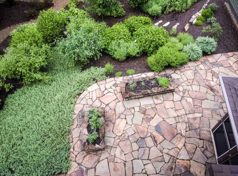 Red flagstone patio