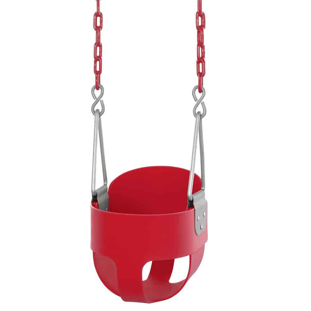 Red bucket swing with vinyl-coated chains.