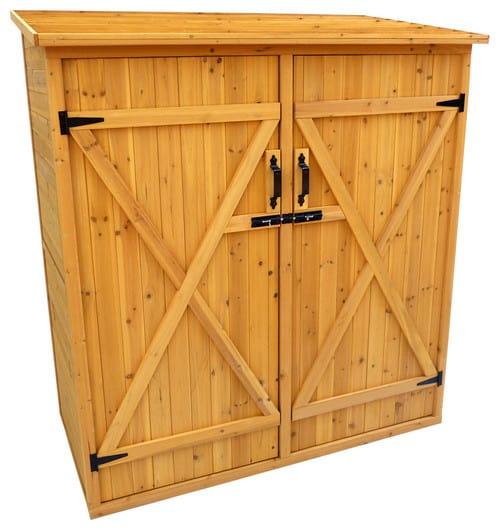 Wooden shed with adjustable shelves.
