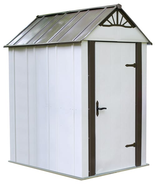 Sturdy shed with flooring.