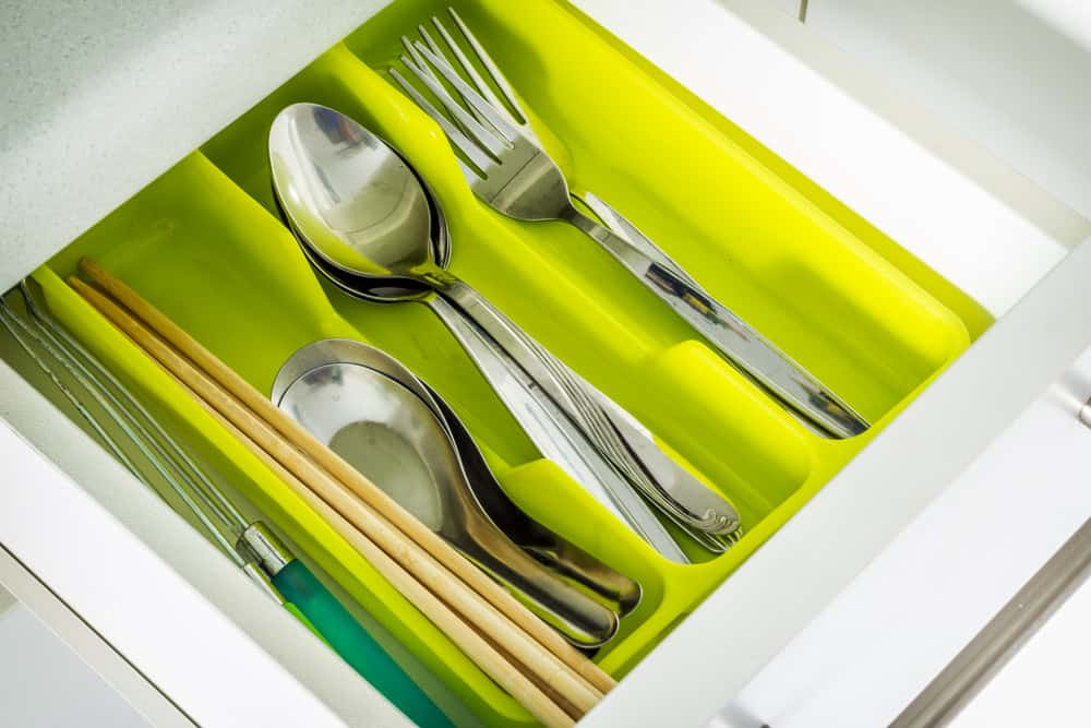 silverware storage tray in drawer