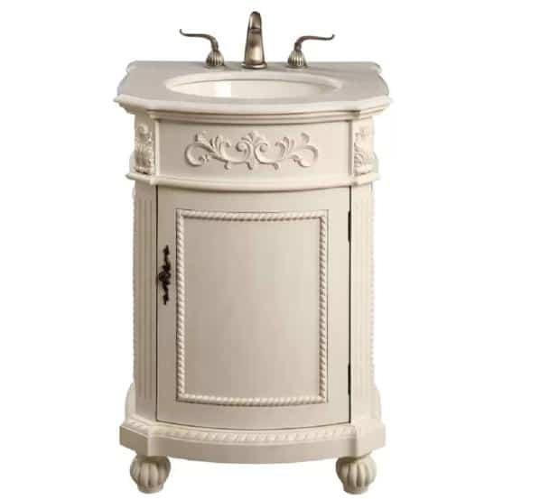 An off-white, single vanity wuth a round sink perfect for small-spaced bathroom.