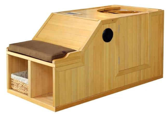 A wooden sauna good for one person.