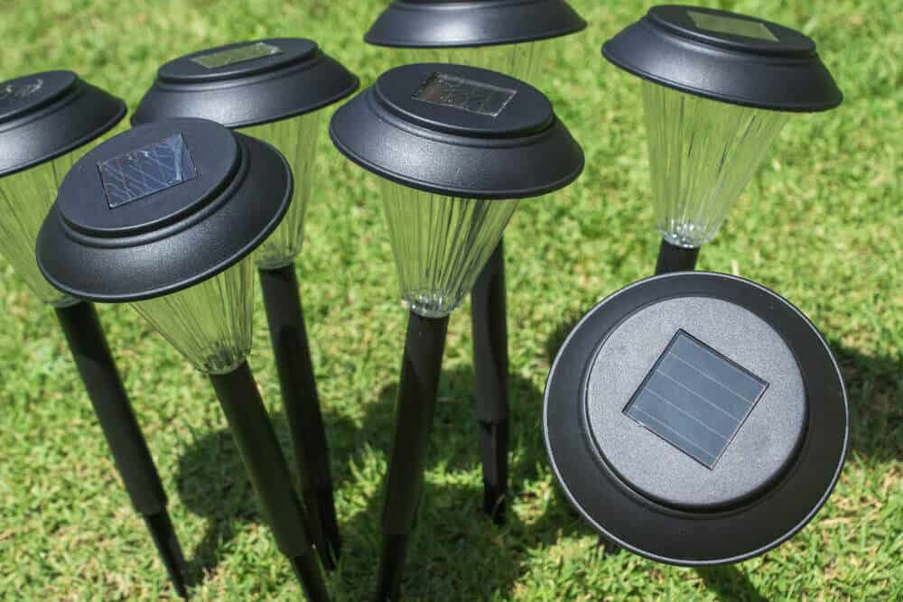 Solar lights for lawns and gardens.