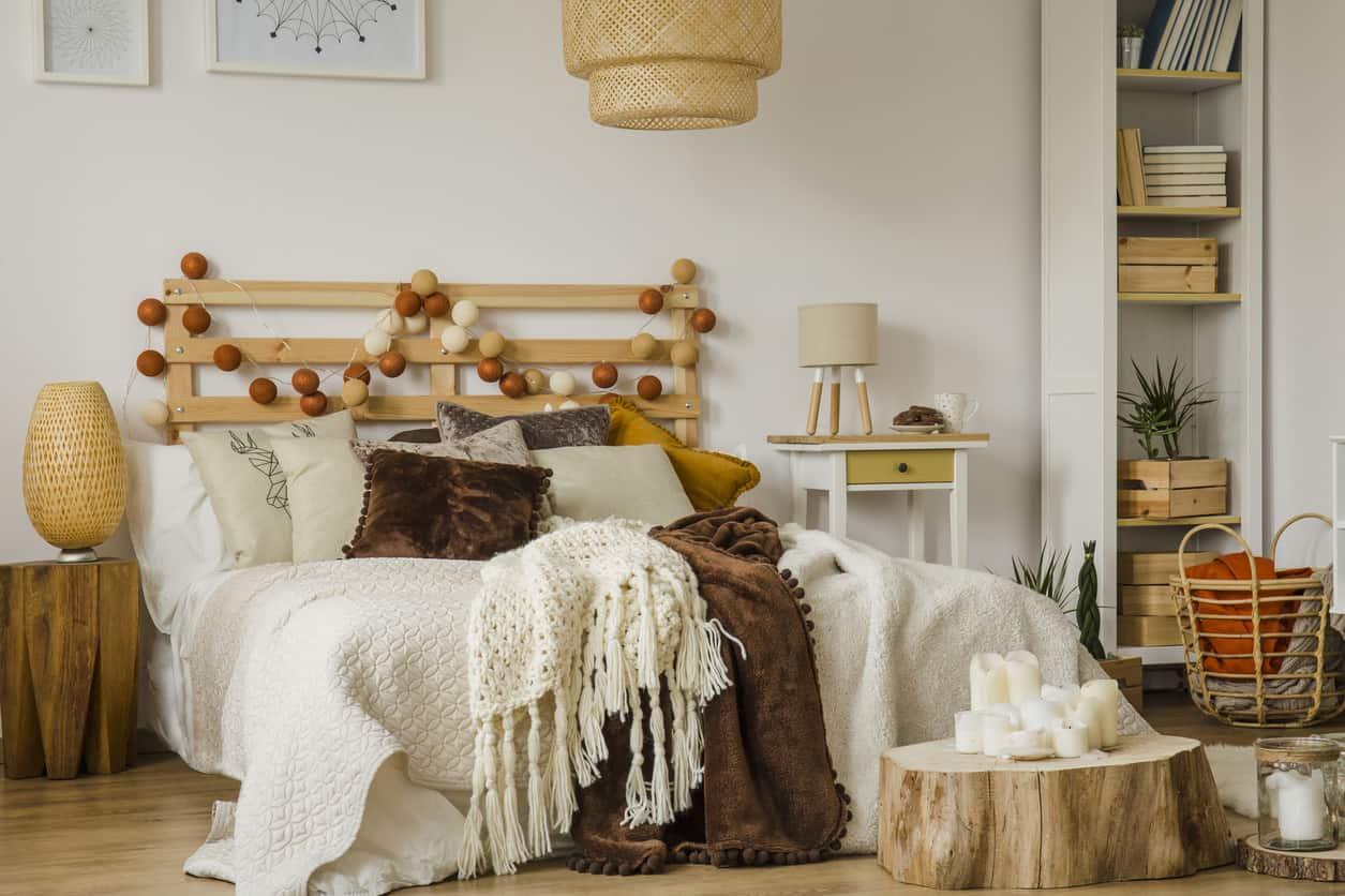 Wood stump as bed nightstand substitute