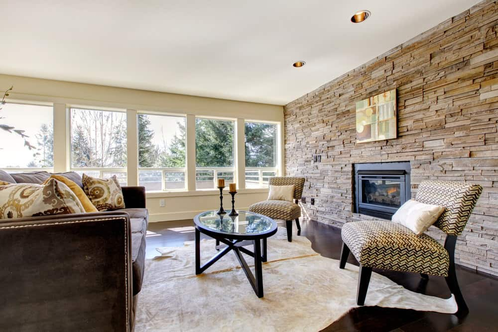 Stone wall in living room
