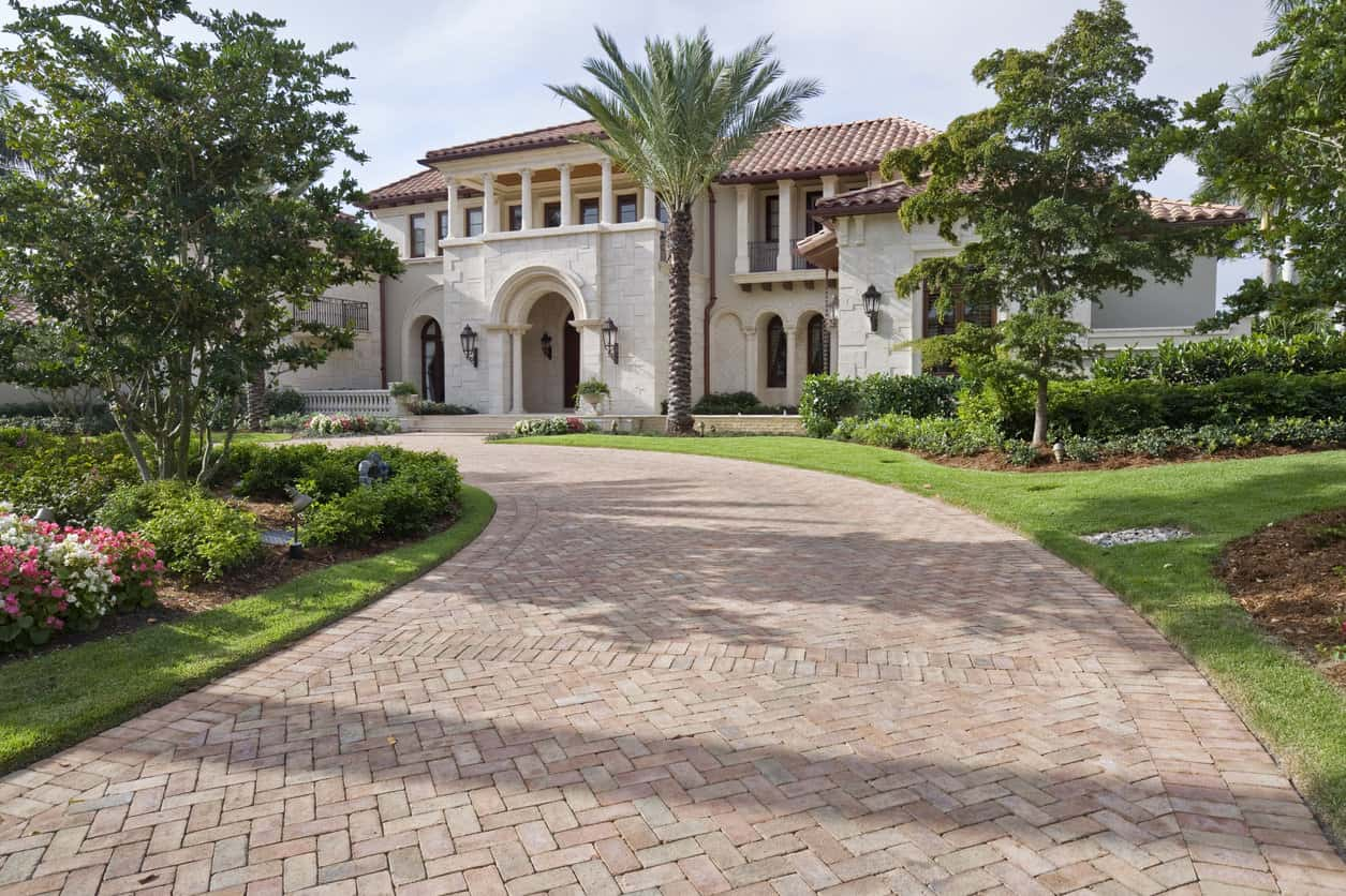 Brick pavers leading up to this beautiful estate home in Florida.