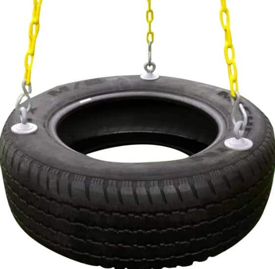 Tire swing with yellow-painted chains.