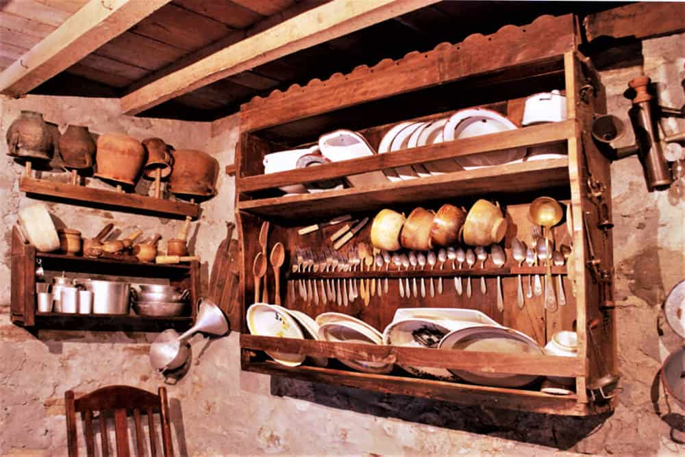 Traditional silverware wall mounted cupboard for utensils and dishware