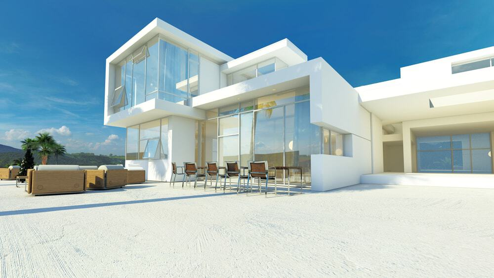 Tropical villa with huge windows, flat roof, and spacious outdoor area.