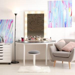 A small vanity area inside a medium-sized room.