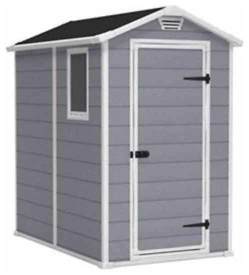 Vinyl gray storage shed.