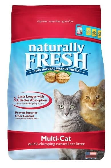 Naturally Fresh cat litter made with 100% natural walnut shells.