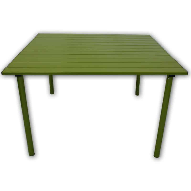 Green-painted square picnic table