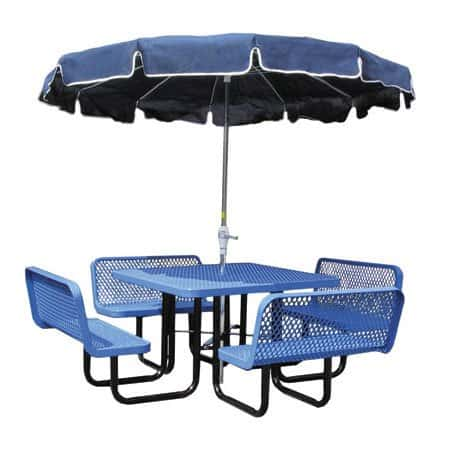Picnic table with attached patio umbrella