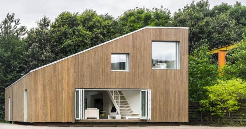 This container house has been transformed into a very modish home with a stylish exterior.