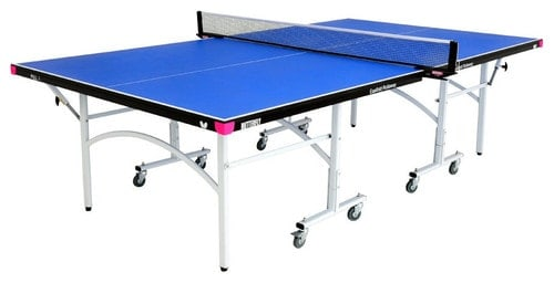 Blue ping-pong table with wheels isolated on white background.