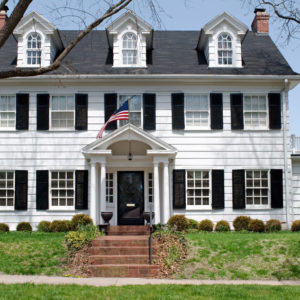 Large white Georgian Colonial style house