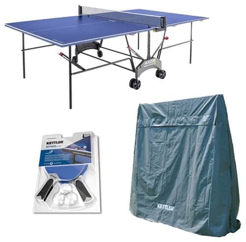 Blue ping-pong table with outdoor cover already included upon purchase.