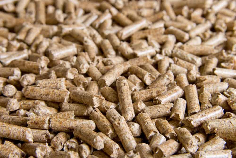 Close up of wood pellets cat litter.