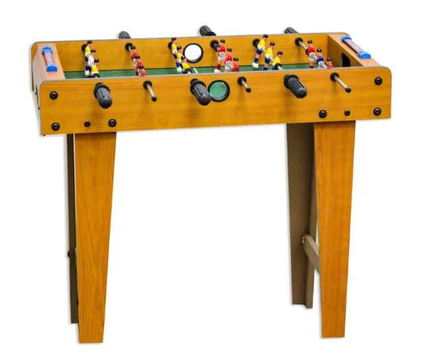Foosball table with adjustable leg, made of pressed wood.