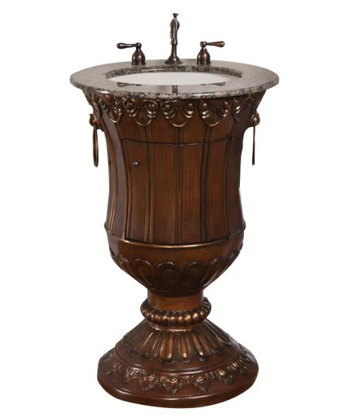 A pesdestal sink vanity with a wooden structure.