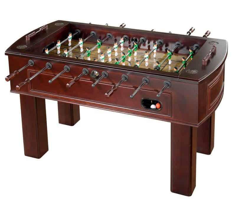 Sleek, dark brown wooden foosball table with a 3-man goalie system.