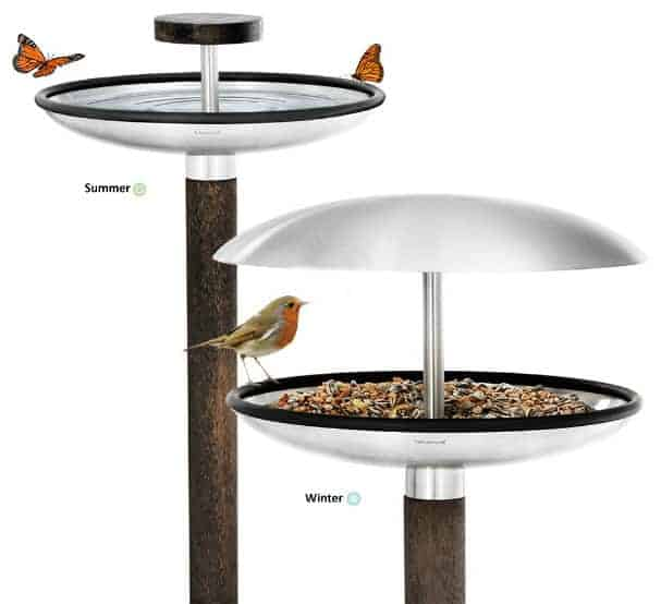 Bird feeder with a wooden frame and a stainless steel top.