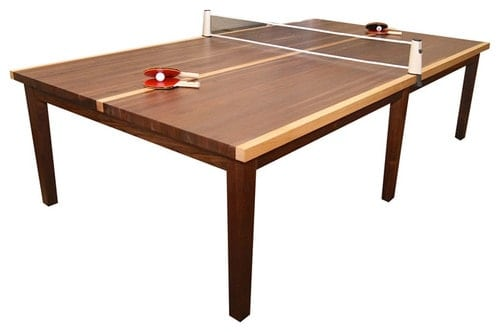 Ping-pong table with wooden tabletop and legs.